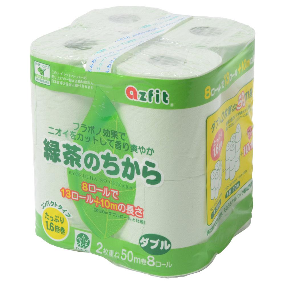 緑茶のちから%トイレットペーパー%8ロール ダブル