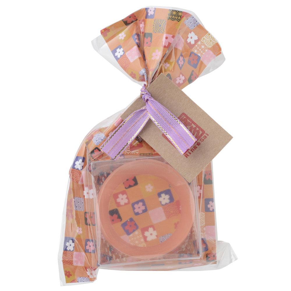 凛彩 和柄石鹸 格子(橙) 30g